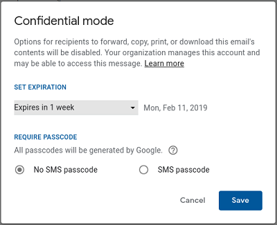 Google Confidential Mode