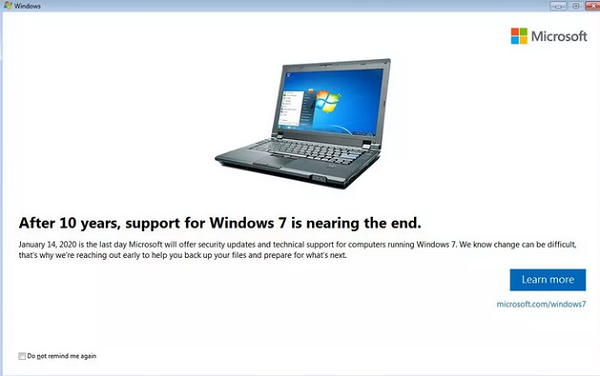 windows 7 end
