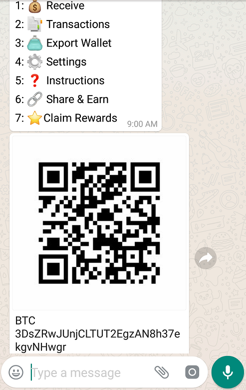 bitcoin whatsapp accept