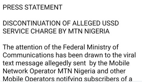 MTN USSD charges
