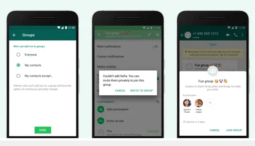 WhatsApp group invites