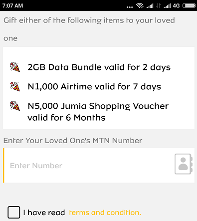 MTN Valentine day offer