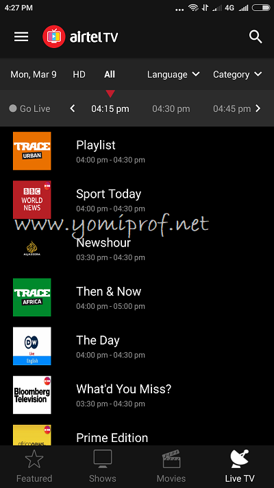 Airtel TV live channels