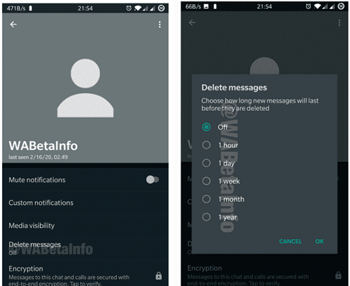 WhatsApp self destructing message