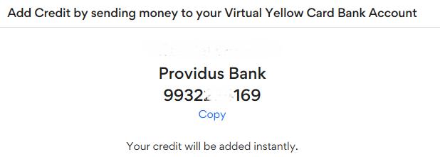 YellowCard bank deposit