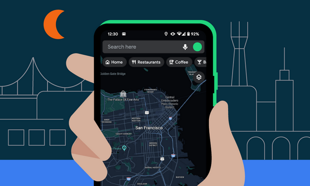 Google Android Map dark mode