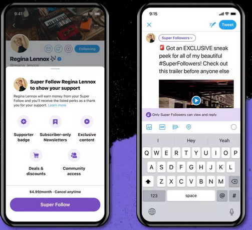 Twitter Super follows premium features