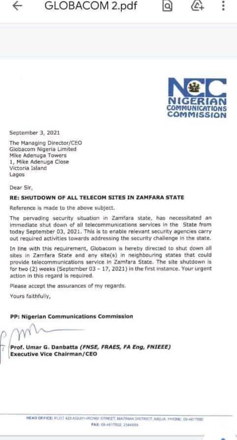 network shutdown in zamfara state